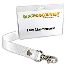 Porte-Badge HSH transparent avec cordon (Lanyard), lot de 25 pièces, porte-nom pour cartes jusqu'à 85x55mm, poche en matière plastique avec coque de protection pour badge, porte carte, haute qualité, prix avantageux