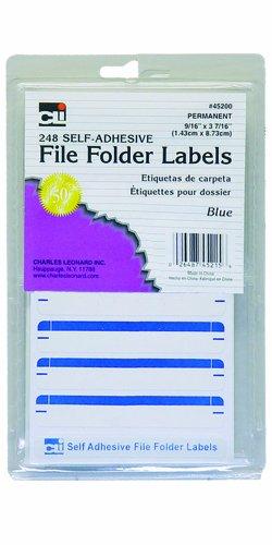 Charles Leonard Inc File Folder Labels, 0,56 x 3,43 Zoll, Blau, 248/Box (45215)