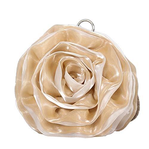 ZYXB Womens Tasche Abendtasche Blume Braut Tasche Geldbörse volles Kleid Party Handtasche Hochzeit Kupplung Frauen Geschenk Blume Tasche,Champagner Rayon Womens Party-kleid