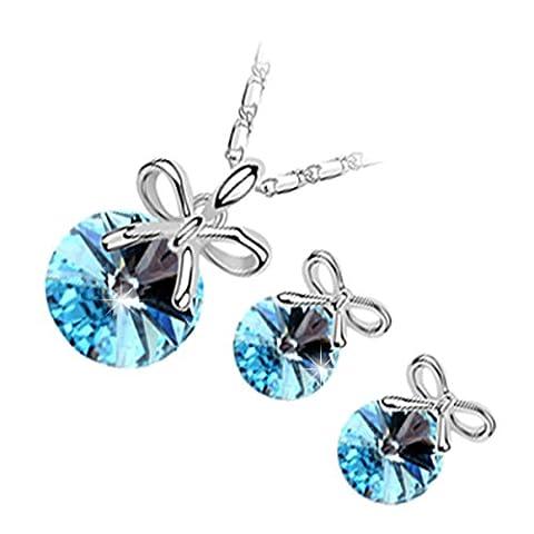 GWG® Sterling Silber Veredelte Schmuckset für Frauen, bestehend aus Anhänger-Halskette und Ohrringen, rundgeschliffener Kristall in türkis blau geschmückt mit festlicher Schleife