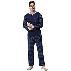 Aibrou Pijamas de Ropa de Dormir de Algodón Set de Agradable Tacto y Cómodo para Hombre