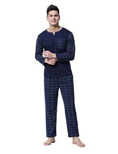 Aibrou Herren Schlafanzug Pyjama Baumwolle Lang Zweiteilig Nachtwäsche Set Langarm Rundhals/V Ausschnitt Dunkelblau S (Langarm-schlafanzug Set)