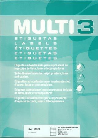 Etiquetas Adhesivas Multi3 Para Inkjet Laser Y Fotocopiadoras Cantos Rectos 500 Hojas 97 X 424mm