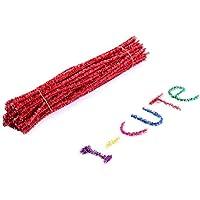 STOBOK 100 Stücke Weihnachten DIY Chenilledraht Pfeifenputzer Glitzer Pfeifenreiniger für Weihnachtsbaum Deko Kinder Basteln Kunst Handwerk 30 cm (Rot)