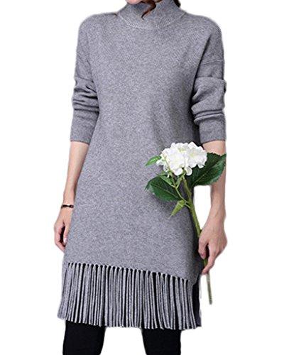Bigood Robe Femme Tricot Pull Frange Col Roulé Mi-long Casual Mode Gris