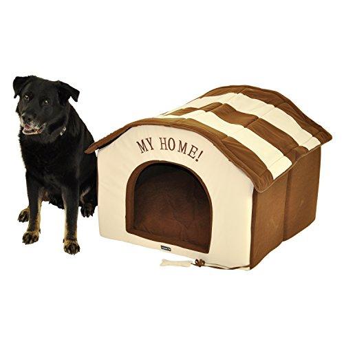 nanook XXL Hundehöhle Hundehaus Katzenhöhle Big Home - 90 x 85 cm Braun / beige gestreift - für große Hunde - leichter Aufbau per Reißverschluß
