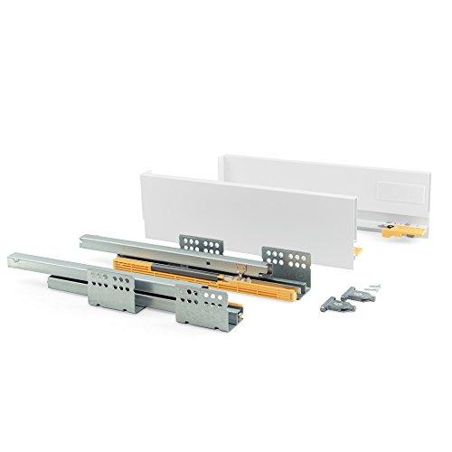 Emuca - Kit de cajón para Cocina o baño con guias de extracción Total y Cierre Suave, Altura 105mm...
