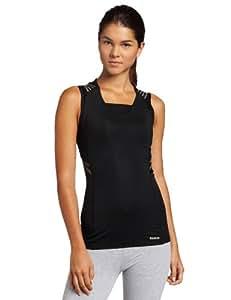 Reebok Easytone Sleeveless Taped Long bra Top Ladies Tank Tops Vests Shirts baselayers compression Sports Training Fitness Jogging Running womens Playdry Black Size XL