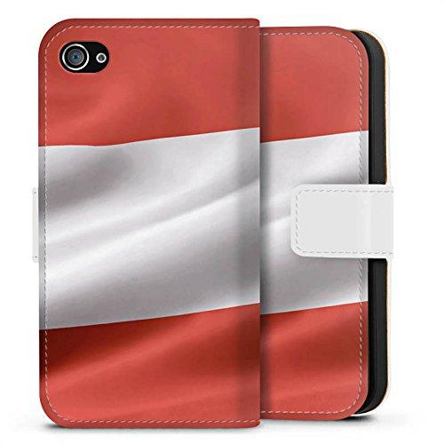 Apple iPhone X Silikon Hülle Case Schutzhülle Österreich Flagge Austria Sideflip Tasche weiß