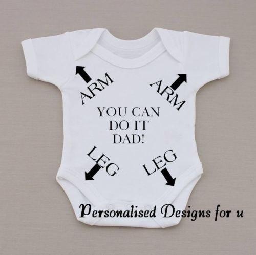 Personalised Baby Vest Bodysuit Romper Funny Humorous Moustache Gift Birthday