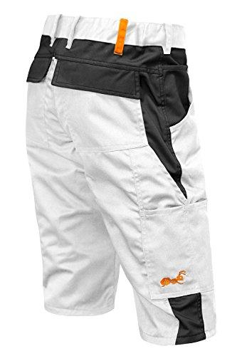 Arbeitshose Männer Kurz Malerhose Berlin Sommer Maler Shorts - Kermen - Größe: 56. Farbe: Weiß-Schwarz