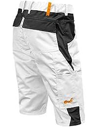 KERMEN.EU Pantalones Cortos para Hombres Pantalones Cortos de Verano para Pintor de Verano - Kermen - Fabricados en UE - Blanco