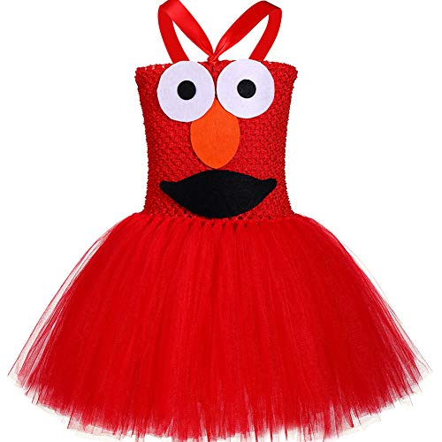 Monster Cookie Sesame Street Kostüm - QYS Tutu Dreams Red Monster Kostüm für Mädchen 1-12Y Birthday Halloween Party Dress Up,80cm