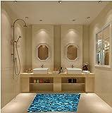 ZBYLL Wall Sticker Blue Ocean Steinboden Aufkleber Badezimmer Dekoration Aufkleber