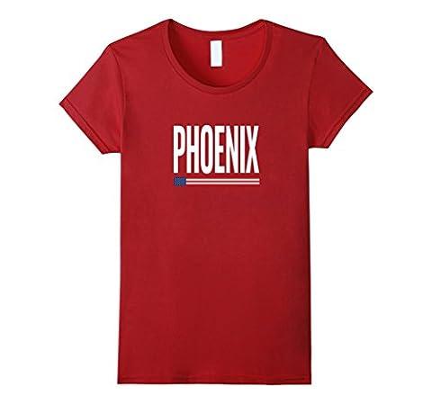 Women's PHOENIX Arizona City Pride USA Flag T-Shirt XL Cranberry