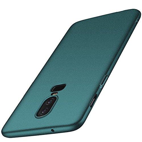 ORNARTO OnePlus 6 Hülle,1+6 Ultra Dünn Schlank Stoßfest, Anti-Scratch FeinMatt Einfach Handyhülle Abdeckung Stoßstange Hardcase für OnePlus 6(2018) 6.28'Matt Kies Grün