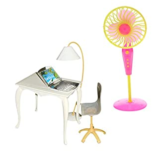 Baoblaze 5-teilig 1/6 Puppenstuben Büro Arbeitzimmer Möbel Set - Miniatur Bürostuhl + Tisch + Computer + Lampe + Bodenventilator
