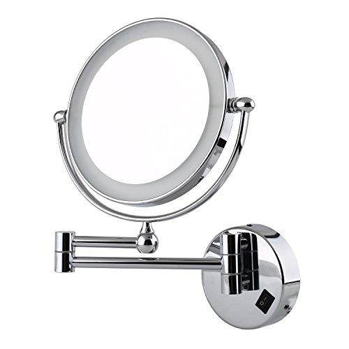 Amzdeal Kosmetikspiegel Schminkspiegel Vergrößerungs- Standspiegel mit normaler und 5-fach Vergrößerung, mit LED Beleuchtung