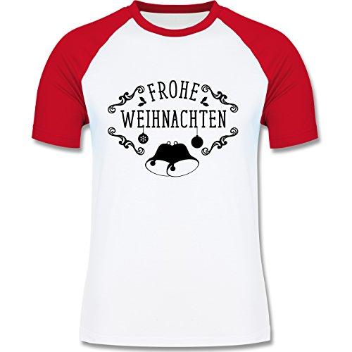 Weihnachten & Silvester - Frohe Weihnachten Glocken - zweifarbiges Baseballshirt für Männer Weiß/Rot