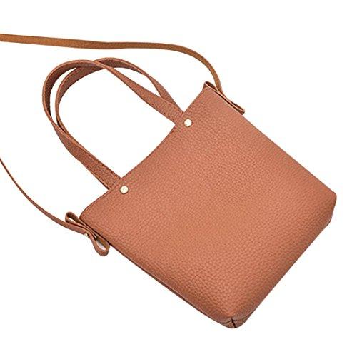 TPulling Weiche Art Und Weise Herbsttasche Frauen Litchi Muster Kuriertasche Braun