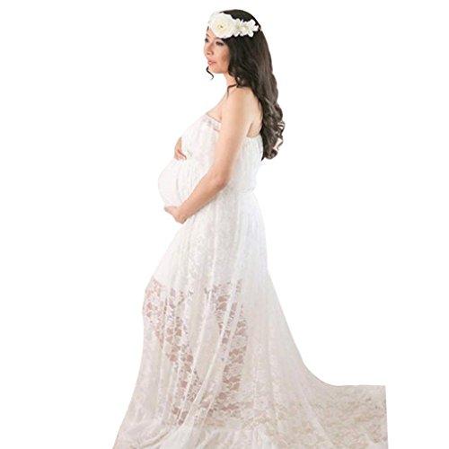 Umstandskleidung, Sonnena Damen Fotografie Requisiten schwanger für Foto-Shooting Mutterschaft Kleidung lange Spitzenkleid 1 * Frauen kleiden Abendkleid mit Spaghettiträger (Freie Größe, Sexy Weiß) (Mutterschaft Jersey Mutterschaft)