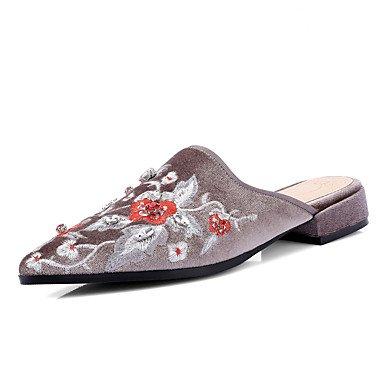 Donne'spantofole & flip-flops Estate Autunno scarpe ricamato abito Felpa casual tacco basso fiore US8 / EU39 / UK6 / CN39