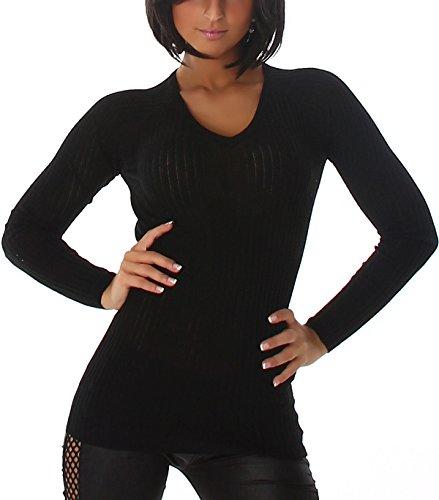 Voyelles - Pull - Uni - Manches Longues - Femme Noir - Noir