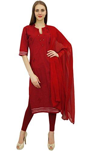 Atasi Readymade Salwar Hose Kastanienbraun bestickte Baumwolle Salwar Kameez Anzug Indian Dress-36 Salwar Hose