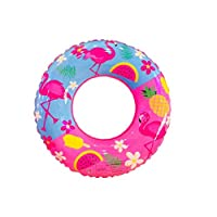 Swimming Ring PVC Flamingo Inflatable Swim Ring Thicken Round Lifebuoy Pool Party Toys 60cm