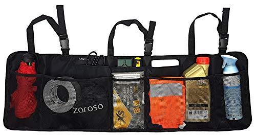ZAROSO KFZ Kofferraum-Organizer mit großen Netz-Taschen für mehr Stauraum | Auto-Aufbewahrungs-Tasche | Auto-Organizer mit Klett-Befestigung | wasserabweisende Kofferraum-Tasche mit Gepäck-Netzen in Schwarz