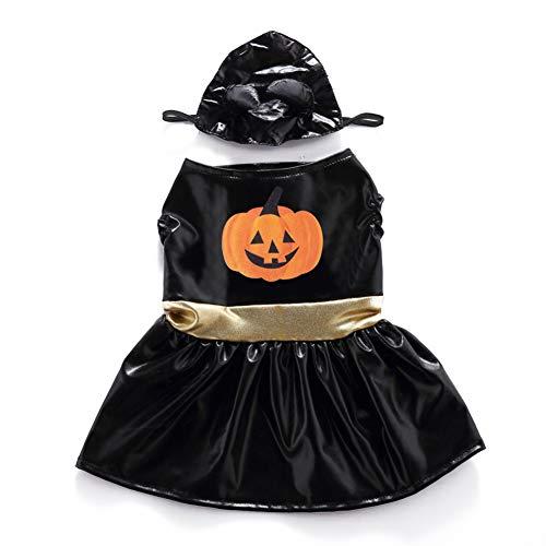 Wenxx vestiti per cani e cani di halloween, fresco vestito nero da zucca, vestito da festa per animali domestici, adatto per animali di piccola e media taglia,l