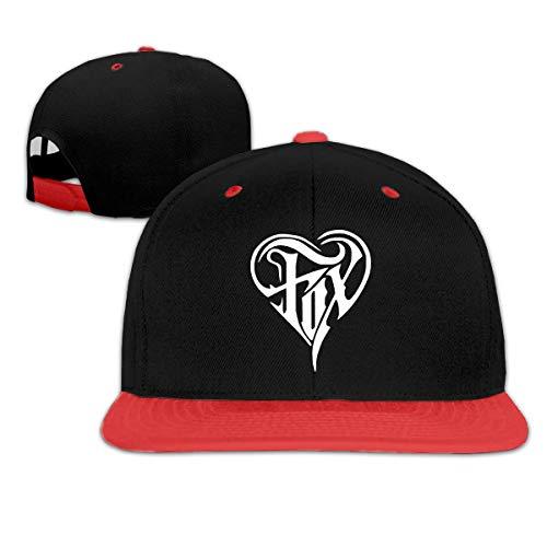 Fox Heart Unisex Niños Gorras de béisbol Planas Sombrero Ajustable Gorra de béisbol Plana Bill Rojo