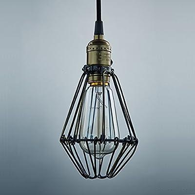 YOBO Industrie Hängeleuchte Quelle Vintage auf aus Käfig Stil für Edison E27 Nostalgie Glühlampe von YOBO Lighting bei Lampenhans.de