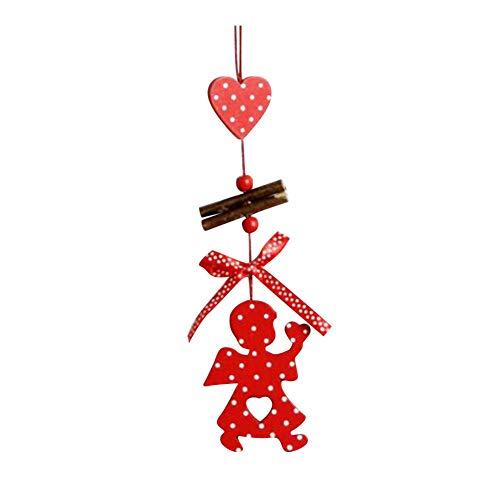 AchidistviQ Holzanhänger Weihnachtsbaum Seil Ornament Home Party Dekoration Geschenk Holz Weihnachtsbaum Anhänger Lange Weihnachten Liebe Schneeflocke Stern, Holz, ()