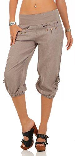 malito Damen Capri Hose aus Leinen | Stoffhose in Unifarben | Freizeithose für den Strand | Chino - kurze Hose 6302 (fango, M) (Capri Hose Fitness)
