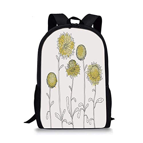 HOJJP Rucksack Letter I Stylish School Bag,Language Symbol Full of Spring Blossoms and Cute Butterflies Wings Petals Fantasy Decorative for Boys,11''L x 5''W x 17''H