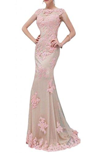 Sunvary Romantisch Neu Mermaid Spitze Tuell Abendkleid Lang Abendmode Rosa