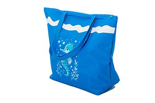 Borsa da Mare Borse Spiaggia Donna Grande Cavalluccio Marino Airee Fairee Cavalluccio marino blu scuro