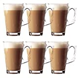 Set di 6 bicchieri da latte macchiato, confezione di eleganti tazze da 11 cm, 240 ml, ideali per tè, caffè, latte, cappuccino, espresso, cioccolata calda