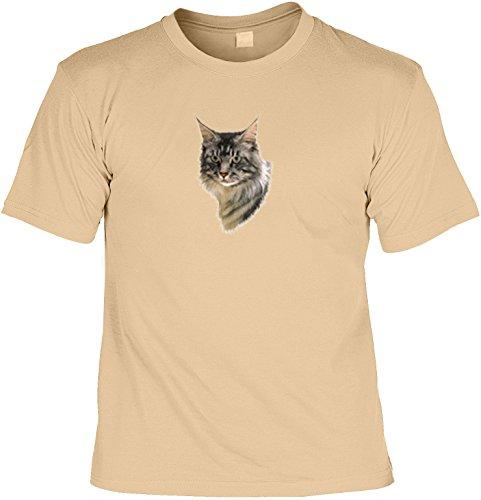 Katzen - Shirt/ T-Shirt Cat Aufdruck: Maine Coon - tolles Tiermotiv für Katzenfreunde Sand