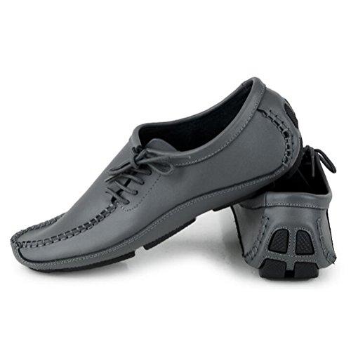 Vogstyle Homme Slip-on Chaussures Bas Vintage en Cuir style-2 gris