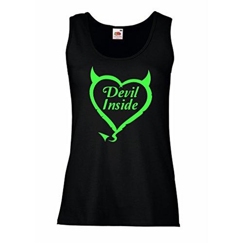 Damen Tank-Top Devil Inside Devil Kostüme lustige Kleidung, Geschenke für Gamer, Cooler Slogan (Small Schwarz - Lustige Selbstgemachte Kostüm