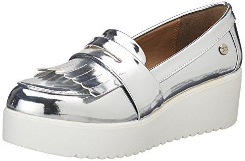 Xti silver mirror pu ladies shoes ., mocassins...
