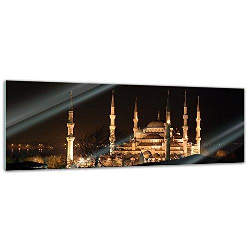 Glasbild - Moschee bei Nacht - - 120 x 40 cm - Deko Glas - Wandbild aus Glas - Bild auf Glas - moderne Glasbilder - Glasfoto - Echtglas - kein Acryl - Handmade