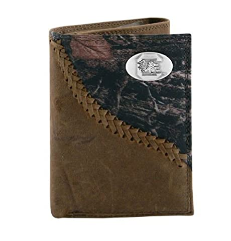 NCAA South Carolina Fighting Gamecocks Camouflage Leather Trifold Concho Wallet, One Size by Zeppelin Products, Inc.