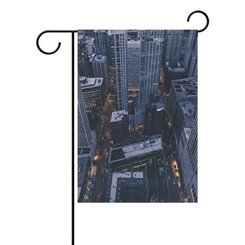 DEZIRO Chicago City Hofflagge Garten Flagge doppelseitig Deko Flagge, Polyester, 1, 28x40(in)