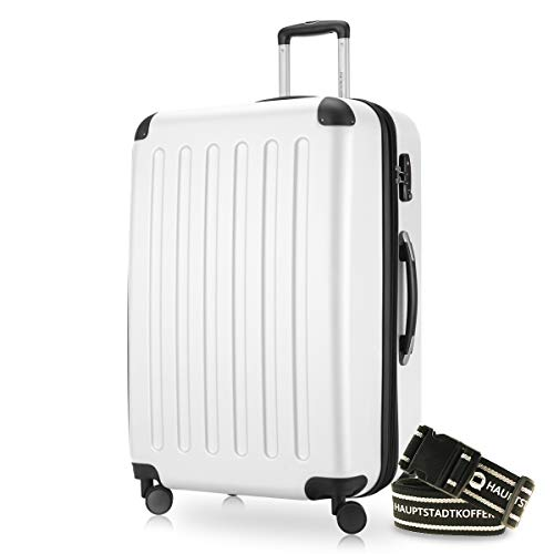 Hauptstadtkoffer - Spree Hartschalen-Koffer-XL Koffer Trolley Rollkoffer Reisekoffer Erweiterbar, 4 Rollen, TSA, 75 cm, 119 Liter, Weiss +Gepäckgurt
