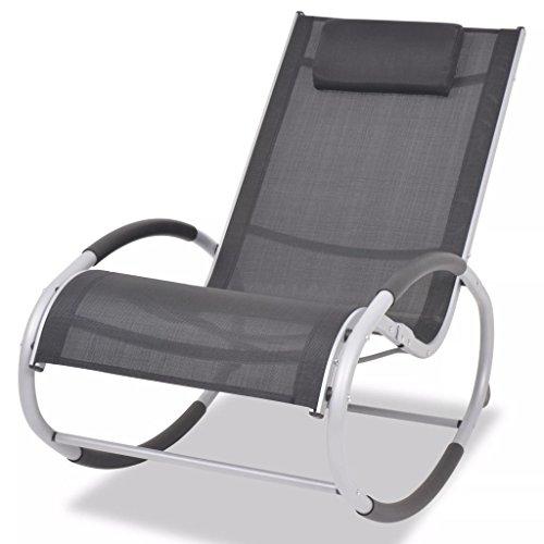 Festnight Chaise à Bascule de Jardin en Aluminium et Textilène