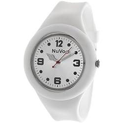 Nuvo - NU13H14 - Unisey Armbanduhr vom Armband abtrennbar - Weißes Zifferblatt - Weißes austauschbares Armband aus Silikon - Modisch - Elegant - Stylish