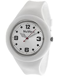 NuVo - NU13H14 - Montre Mixte détachable du bracelet  - Cadran Blanc - Bracelet Silicone Blanc changeable
